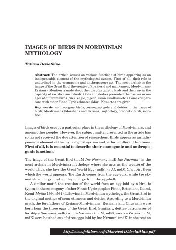 IMAGES OF BIRDS IN MORDVINIAN MYTHOLOGY