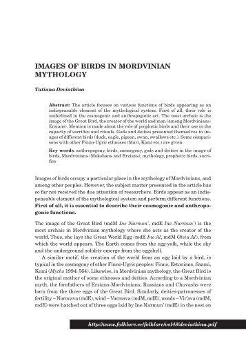 IMAGES OF BIRDS IN MORDVINIAN MYTHOLOGY