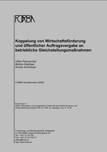 Koppelung von Wirtschaftsförderung und öffentlicher ... - FORBA