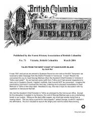 Forest History Newsletter 73 - Ministry of Forests, Lands and Natural ...