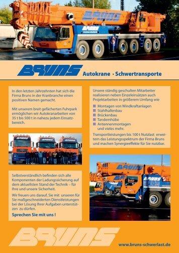 Autokrane · Schwertransporte - Bruns Schwerlast