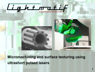 Micromachining and surface texturing using ultrashort pulsed lasers