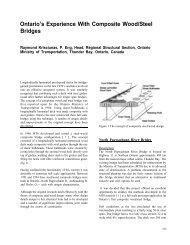 Ontario's Experience With Composite Wood/Steel Bridges