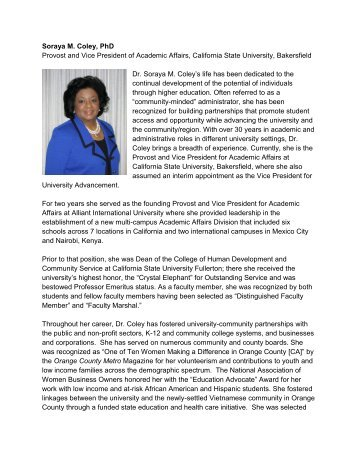 Soraya M. Coley, PhD Provost and Vice President of Academic ...