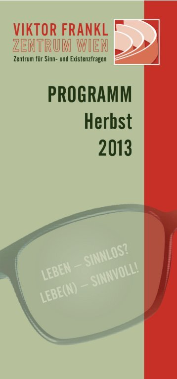 VIKTOR FRANKL ZENTURM WIEN Programm Herbst 2013
