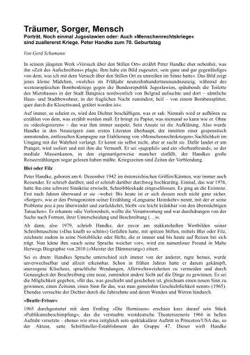 Träumer, Sorger, Mensch - Freiheit für Slobodan Milosevic
