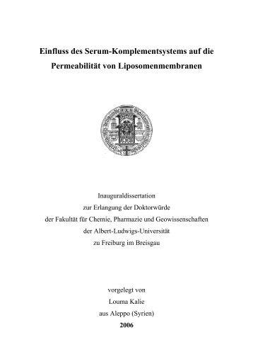 Einfluss des Serum-Komplementsystems auf die Permeabilität von ...
