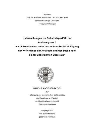 Untersuchungen zur Substratspezifität der Aminoacylase 1 aus ...