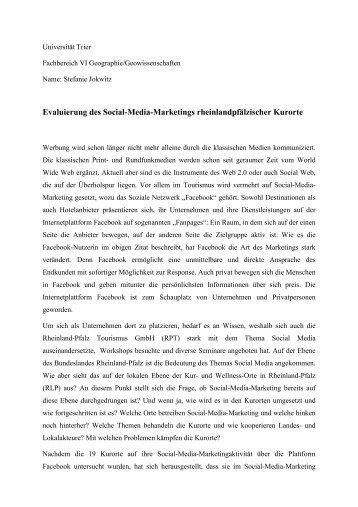 Evaluierung des Social-Media-Marketings rheinlandpfälzischer ...