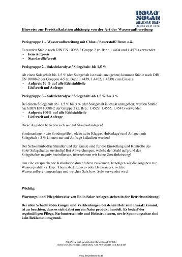 Preisliste von Rollo Solar Melichar