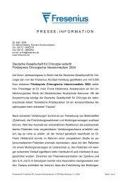 Deutsche Gesellschaft für Chirurgie verleiht Förderpreis ... - Fresenius