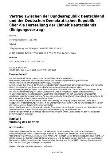 Vertrag zwischen der Bundesrepublik Deutschland und der ...