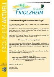 Blättle KW38 - Friolzheim