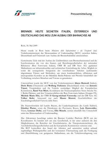 Pressemitteilung BRENNER: HEUTE SEGNETEN ... - FSNews