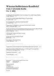 Rundbrief Nr. 1 - Freie Universität Berlin