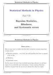 Statistical Methods in Physics Part VII Bayesian Statistics, Blindness ...