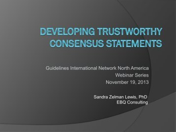 Trustworthy Consensus Statements - Guidelines International Network