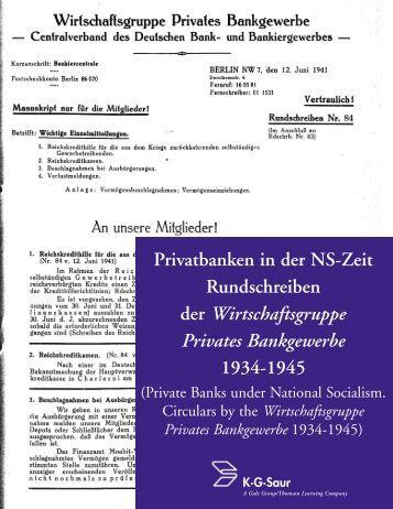 Privatbanken in der NS-Zeit Rundschreiben der ... - Gale