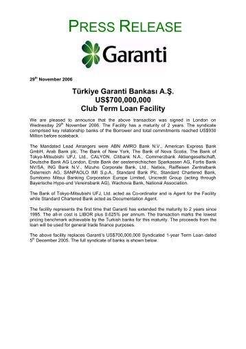 US$700,000,000 Club Term Loan Facility - Garanti Bankası