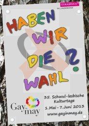 35. Schwul-lesbische Kulturtage 1. Mai - 7. Juni 2013 ... - Gay in May