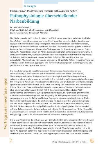 Pathophysiologie überschießender Narbenbildung - Gd-online.de