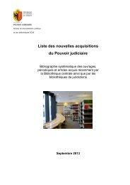 Liste des nouvelles acquisitions du Pouvoir judiciaire - Etat de Genève