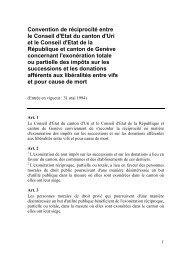 Convention de réciprocité entre le Conseil d'Etat ... - Etat de Genève