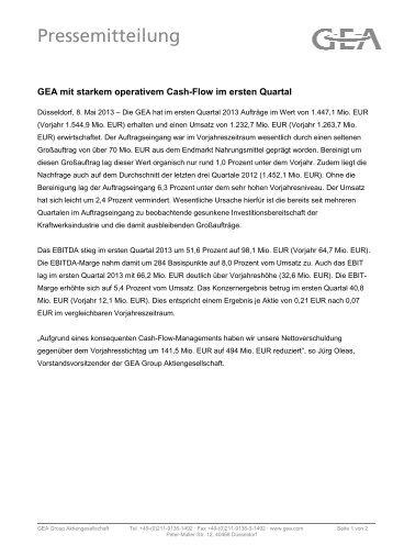 2013.05.08. GEA mit starkem operativem Cash-Flow ... - GEA Group