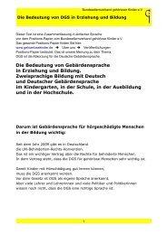 Die Bedeutung von DGS in Erziehung und Bildung.