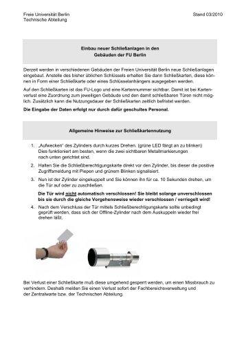 Bedienungsanleitung Schließanlage - Fachbereich Philosophie und ...