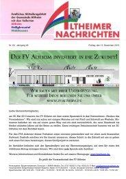 Liebe Gemeindemitglieder, am 08. Mai 2013 startete der FV Altheim ...