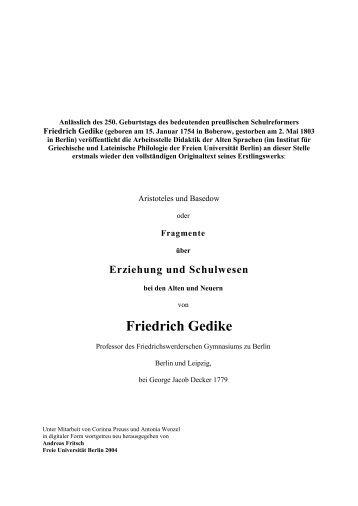Friedrich Gedike - Fachbereich Philosophie und ...