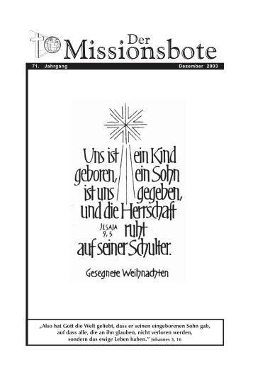 Missbote Dezember 2003.pmd - Gemeinde Gottes