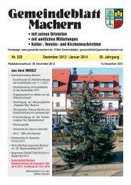 Amtsblatt Nr. 229 Dezember 2013 - Gemeinde Machern
