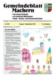 Amtsblatt Nr. 225 August 2013 - Gemeinde Machern