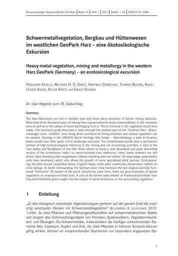 Schwermetallvegetation, Bergbau und Hüttenwesen im westlichen ...