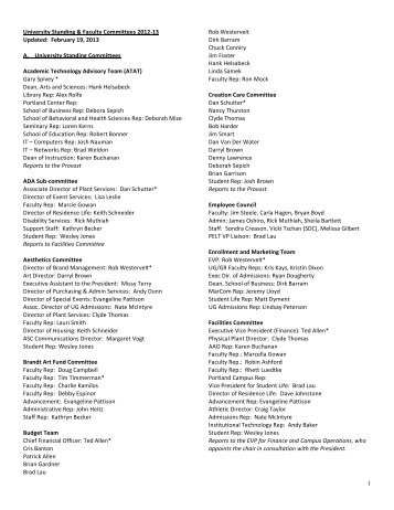 Administrative & Faculty Committees List - George Fox University