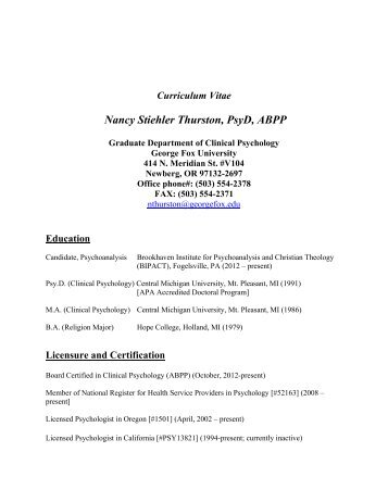 Curriculum Vita - George Fox University