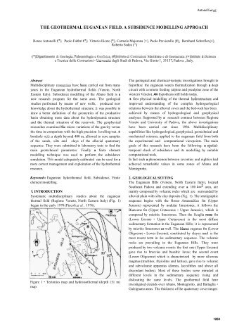 the geothermal euganean field. a subsidence modelling approach