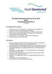 Die Stadt Geretsried sucht zum 01.01.2014 eine/n IT ...