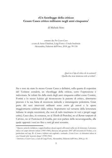 «Un fuorilegge della critica» Cesare Cases critico militante negli ...