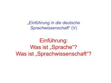 "Was ist ""Sprache""? - Germanistisches Seminar"