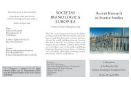 SOCIETAS IRANOLOGICA EUROPÆA Recent Research in Iranian ...
