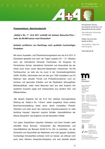 Schlussbericht A+A 2011 - Gesell & Co Messemarketing