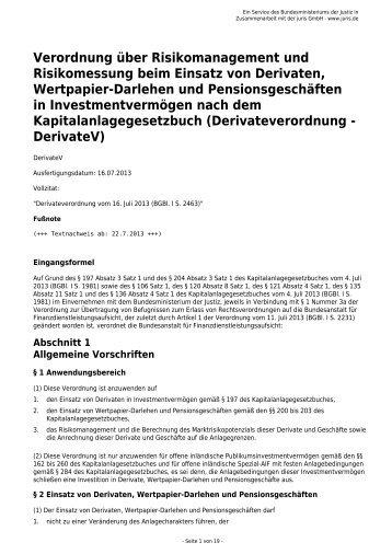 Verordnung über Risikomanagement und Risikomessung beim ...