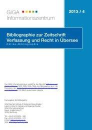 Bibliographie zur Zeitschrift Verfassung und Recht in ... - GIGA