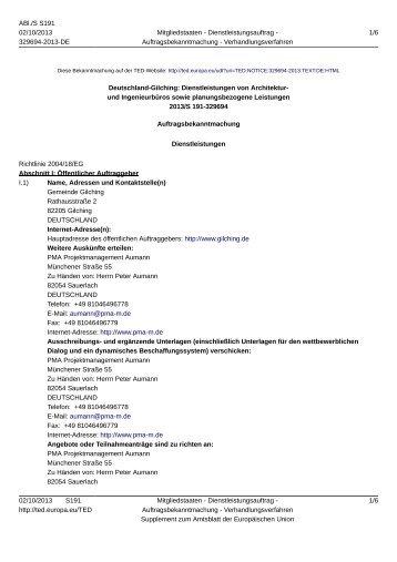 Deutschland-Gilching: Dienstleistungen von Architektur - Gemeinde ...