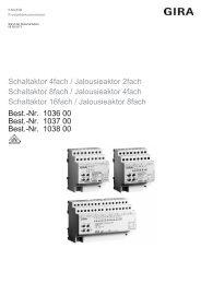 Schaltaktor 4fach / Jalousieaktor 2fach Schaltaktor 8fach ... - Gira