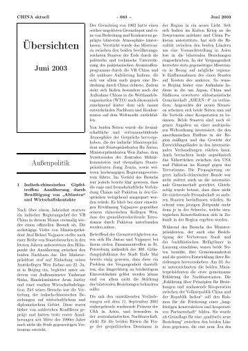 Übersichten Juni 2003 - GIGA German Institute of Global and Area ...