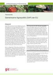 Gemeinsame Agrarpolitik (GAP) der EU - GIZ